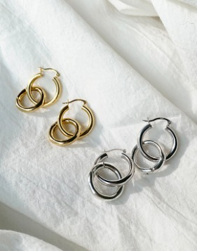 [Shortbutstunning] Double hoop two-way earring