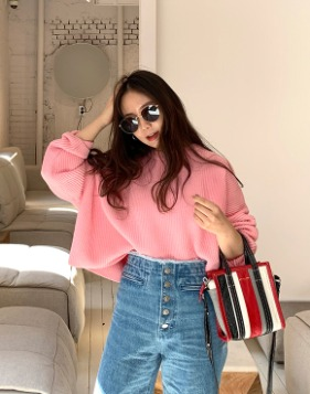 [Shortbutstunning] Oversize crop cotton knit