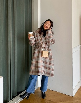 [Shortbutstunning] Wool check grey coat